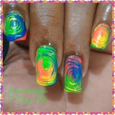 Neon Swirls nail art by Painted Digits