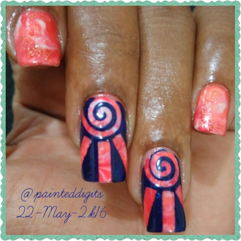Smoosh with nail Vinyls nail art by Painted Digits
