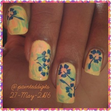 Drag Marble with Stamped Flowers nail art by Painted Digits
