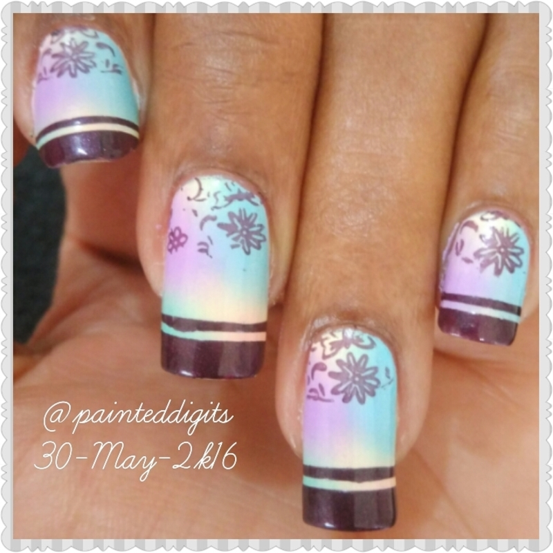 Pastel Scattered Gradient with Stamping nail art by Painted Digits