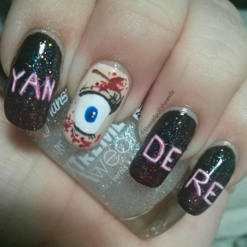 Yandere Simulator nail art by Lynni V.