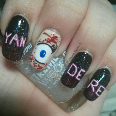Yandere Simulator nail art by Lynni V.