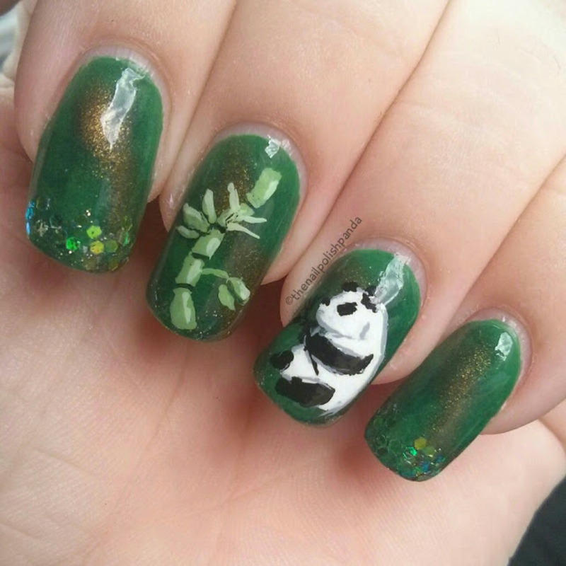 Panda Time nail art by Lynni V.