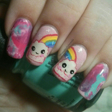 Rainbow Cloud Cupcakes nail art by Lynni V.