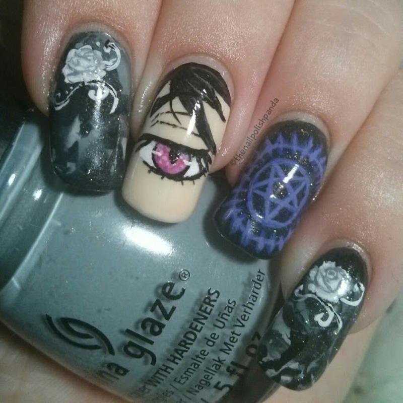 Black Butler nail art by Lynni V.