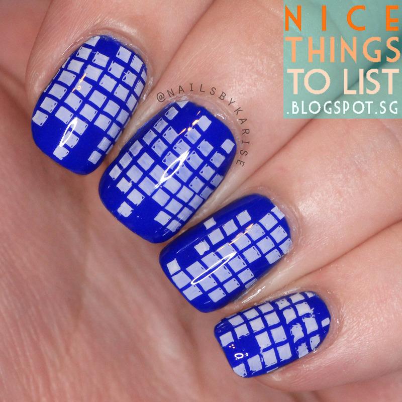 Stamped on Squares nail art by Karise Tan