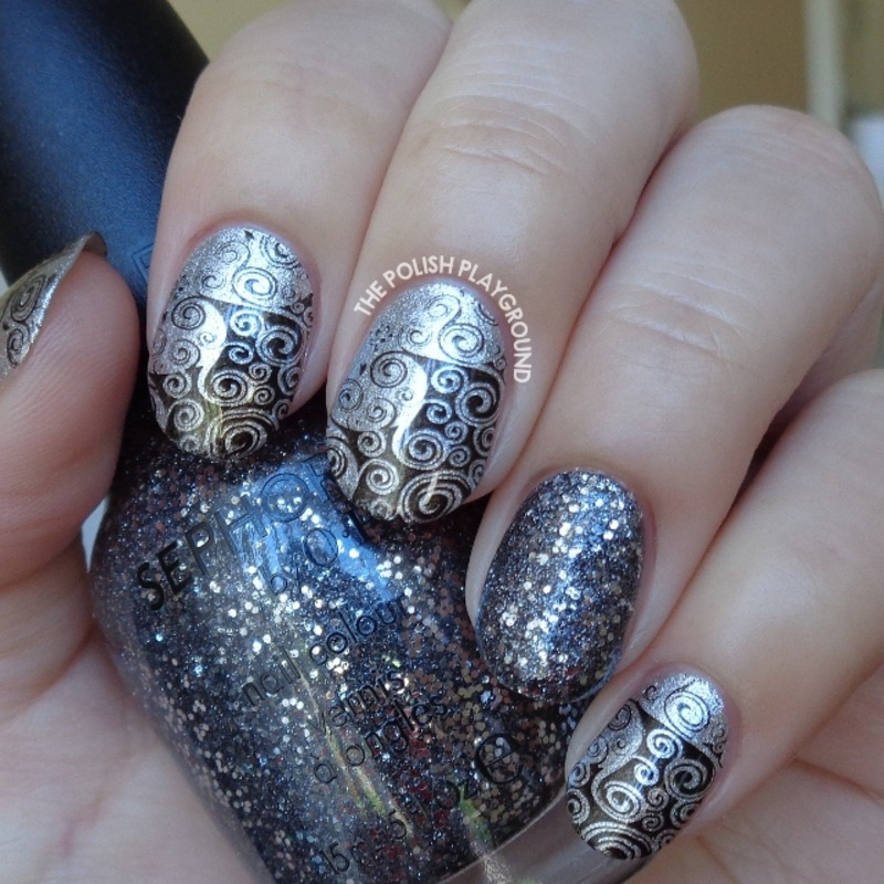 Silver and Black Swirly Side Stamping nail art by Lisa N