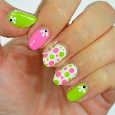 Pink and Green nail art by NailsContext