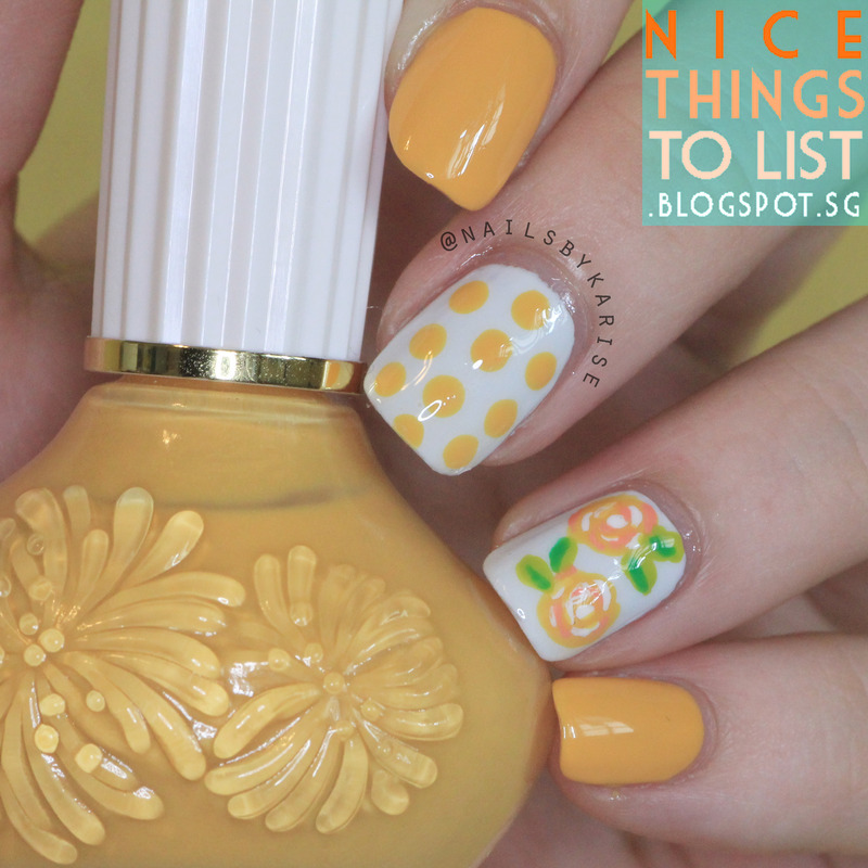 Yellow Floral nail art by Karise Tan