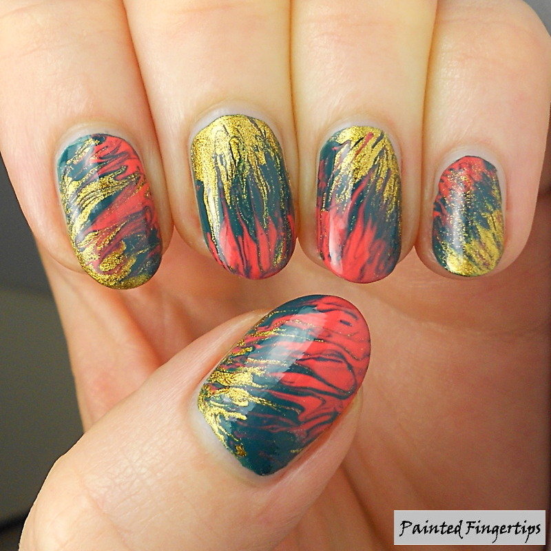 Green, coral and gold needle drag nail art by Kerry_Fingertips