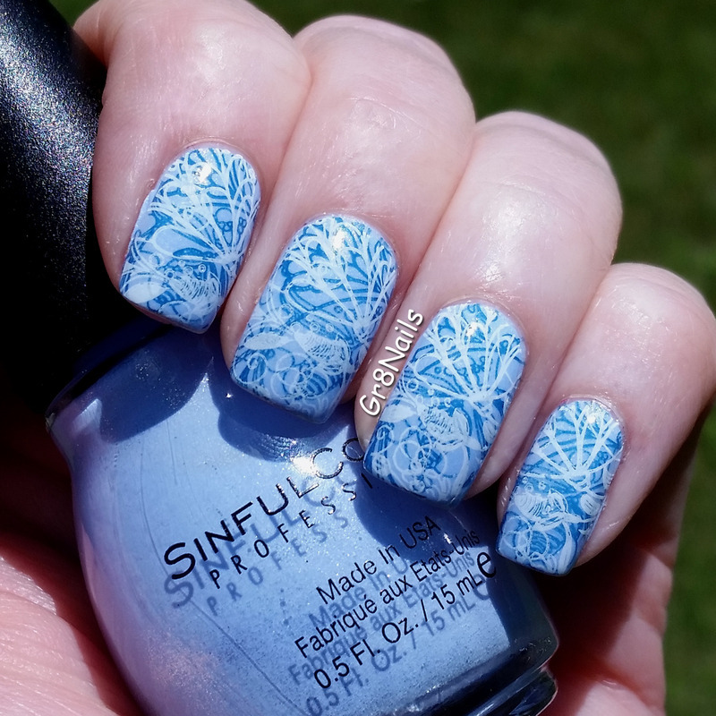 Summertime Blues nail art by Gr8Nails