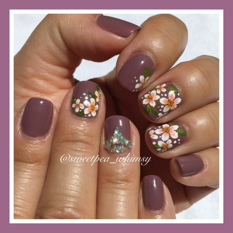 🌸 Cherry Blossoms on Lavender  nail art by SweetPea_Whimsy