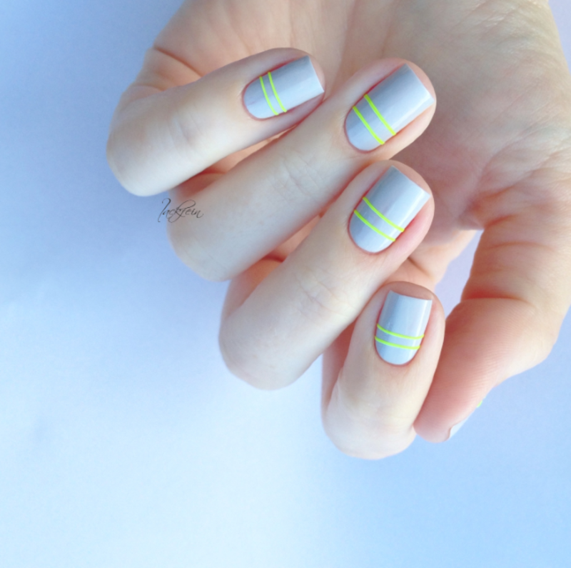 Neon Stripes nail art by lackfein