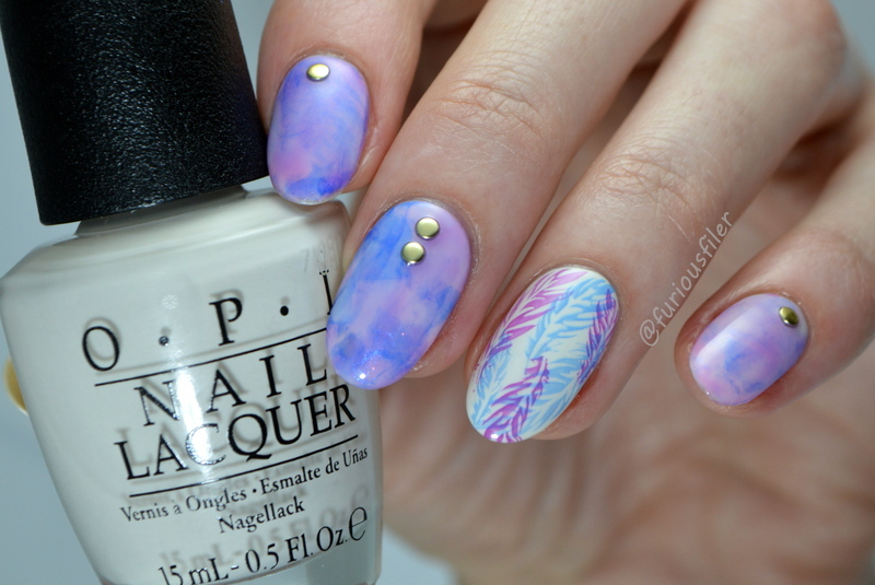 Jelly Stamper Marble nail art by Furious Filer