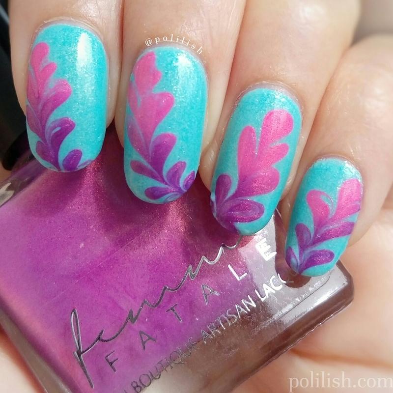 Dry marble nails with thermal polish nail art by polilish