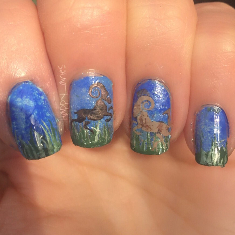 Happy Rams dancing in the wind  nail art by Happy_aries