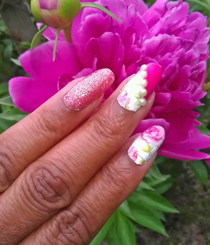 Pretty in Pink nail art by Jackie Bodick