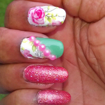 Pink with a touch of Green nail art by Jackie Bodick