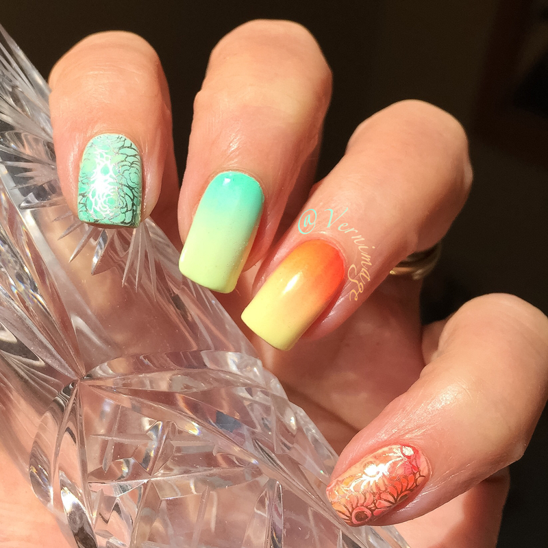 Gradient and stamping skittle nail art by Vernimage