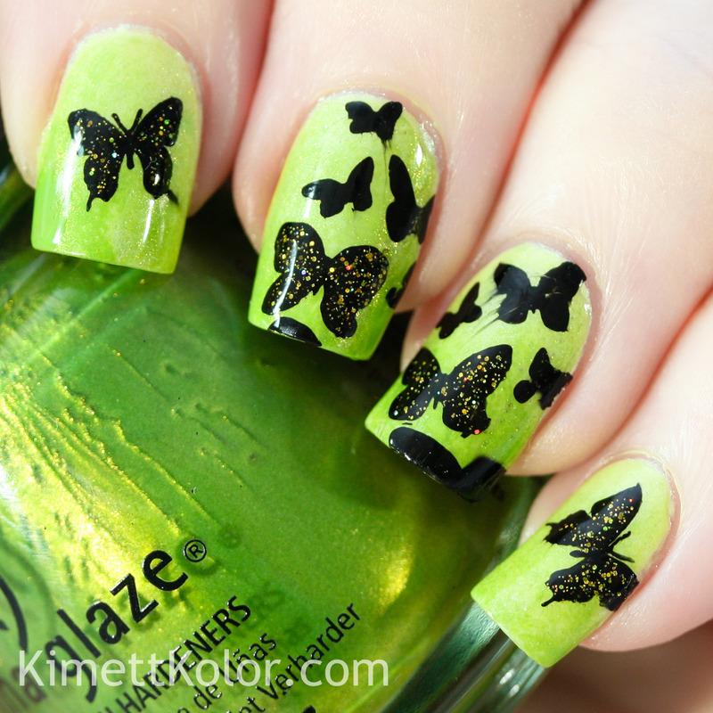 Glitter Topped Butterflies nail art by Kimett Kolor