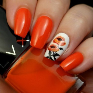 Happy Poppies nail art by Kim