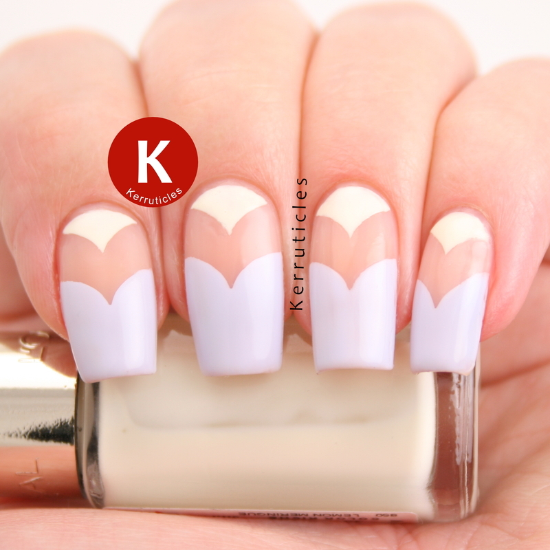 Pastel and negative space curved chevrons nail art by Claire Kerr