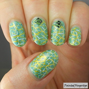Geometric double stamping nail art by Kerry_Fingertips