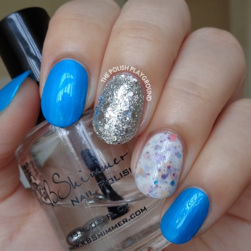 Blue Neon, White Crelly & Silver Glitter Nail Art nail art by Lisa N