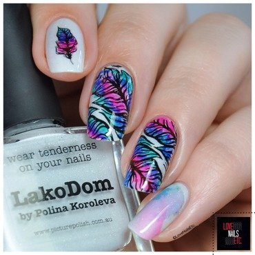 Peacock Feathers  nail art by Love Nails Etc