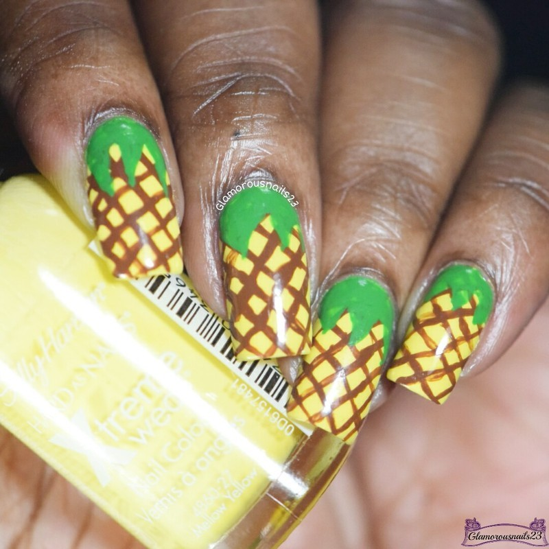 Pineapple Nail Art nail art by glamorousnails23