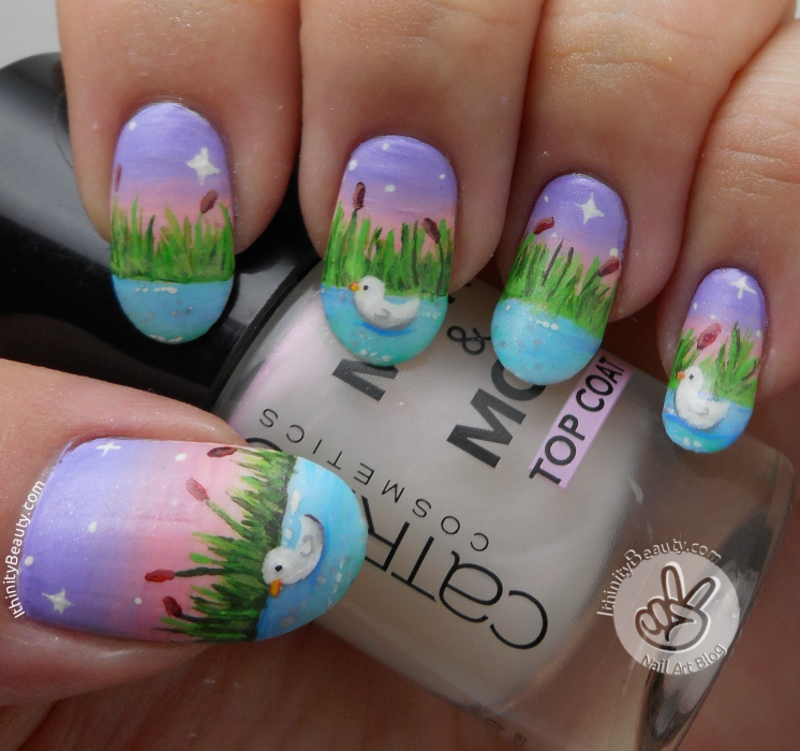 Freehand Duck Pond  nail art by Ithfifi Williams