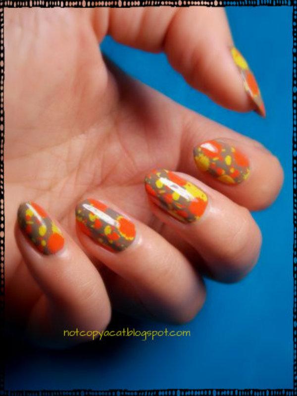 Splatter manicure. nail art by notcopyacat