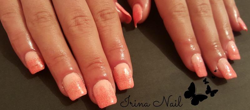 Glitter Ombre nail art by Irina Nail