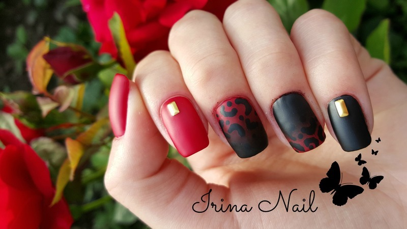 Manicure in shades of red with black | Irina Nail  nail art by Irina Nail