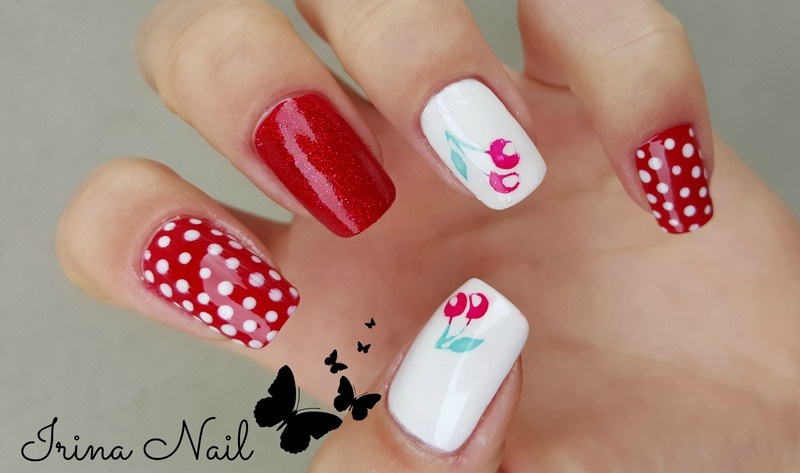 Cherry nail art nail art by Irina Nail