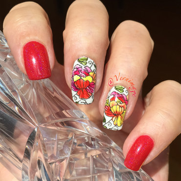 Leadlight with watercolors  nail art by Vernimage
