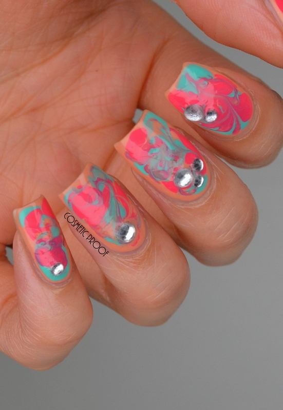 Tropical Dry Marble nail art by Jayne