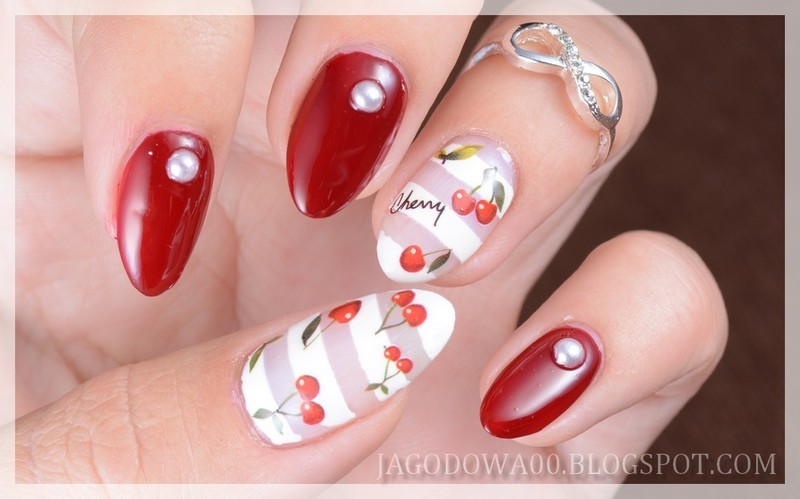 Cherry Bomb nail art by Jadwiga