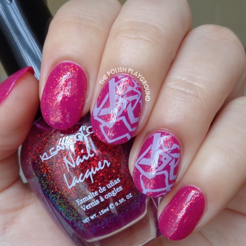 Raspberry and Glitter Combination with Purple Stamping nail art by Lisa N
