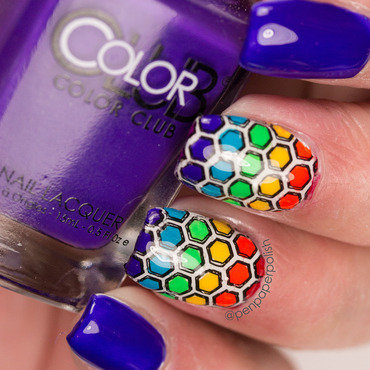 Rainbow Honeycombs nail art by Misty