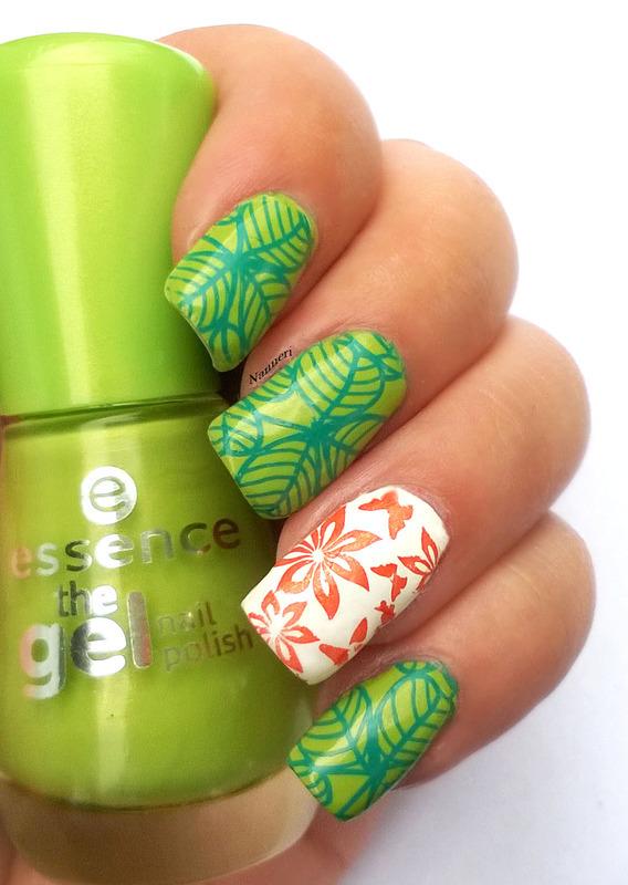 Clovers, flowers and butterflies nail art by Nanneri
