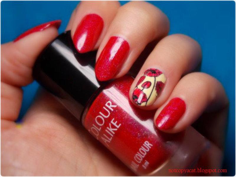 So red! nail art by notcopyacat