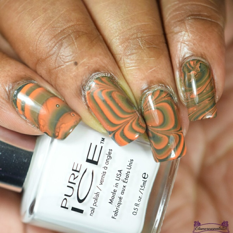 Watermarble Wednesdays: Orange & Green nail art by glamorousnails23