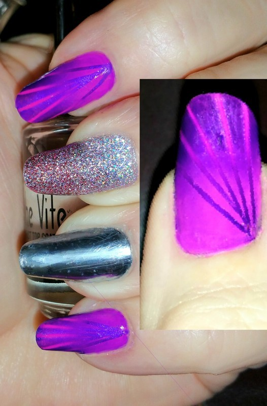 Pink and purple with a mirror  nail art by Maureen Spaulding