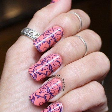 Coral and Navy nail art by PolishSickness