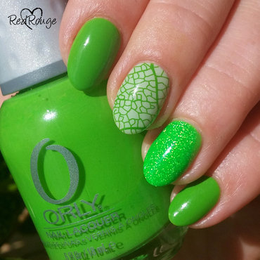 Green Mix nail art by RedRouge