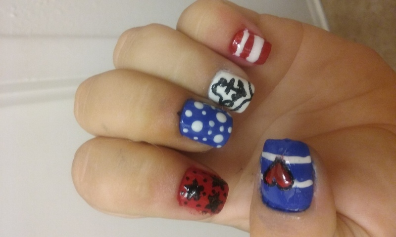 Nautical Americana  nail art by Teana Jones