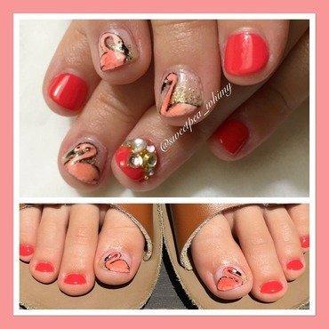 💖 Flamingo Pink Kids Mani/Pedi nail art by SweetPea_Whimsy
