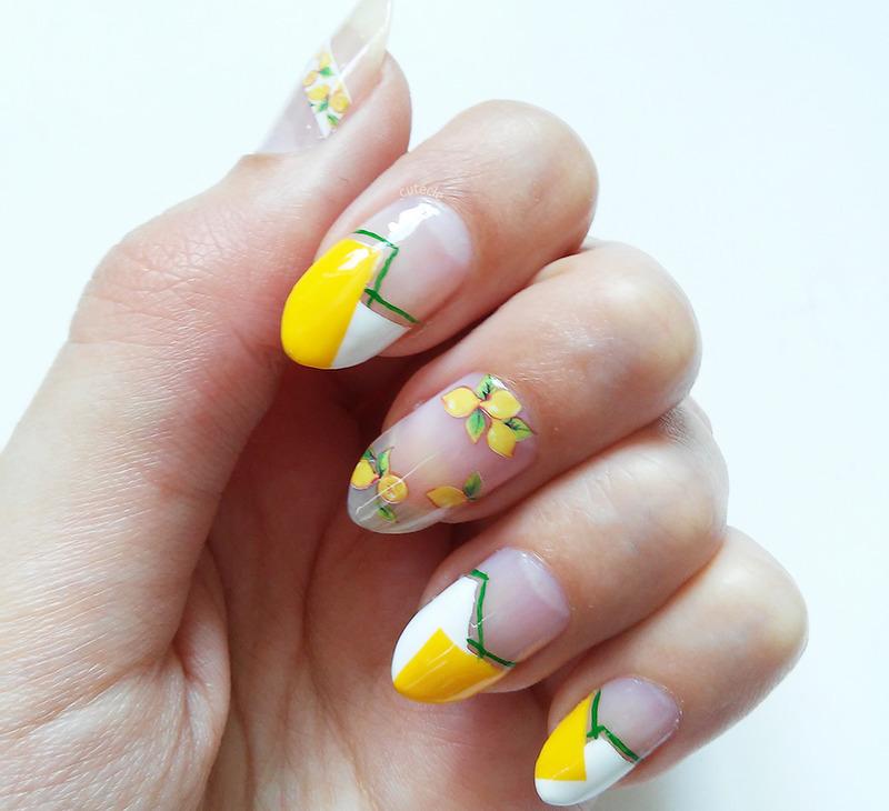 Lemon Color Block Nails nail art by Cutecle