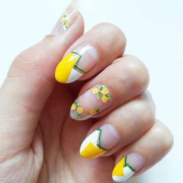 Lemon Color Block Nails nail art by Cutecle